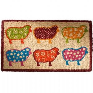 Doormat~ Bohemian Hippy Coconut Fibre Assorted Colour Sheep Doormat~ By Folio Gothic Hippy DM26